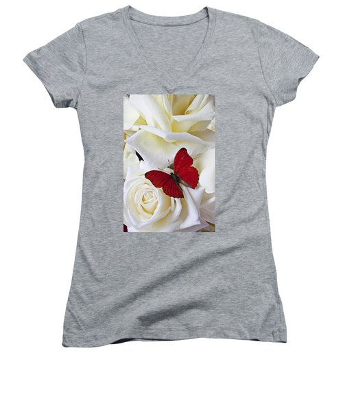 Red Butterfly On White Roses Women's V-Neck T-Shirt (Junior Cut) by Garry Gay