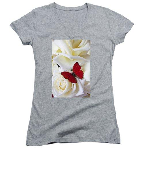 Red Butterfly On White Roses Women's V-Neck T-Shirt