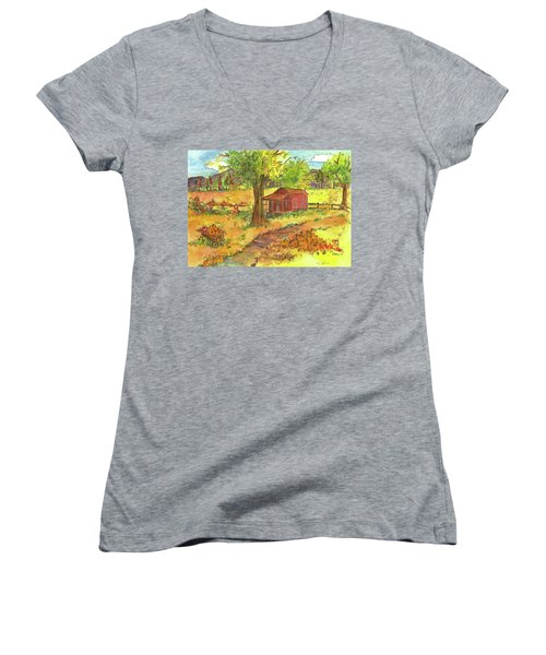Women's V-Neck T-Shirt (Junior Cut) featuring the painting Red Cabin In Autumn  by Cathie Richardson