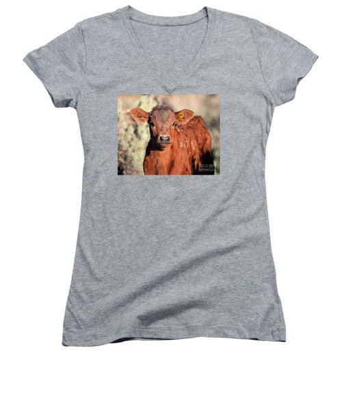 Red Calf Women's V-Neck T-Shirt