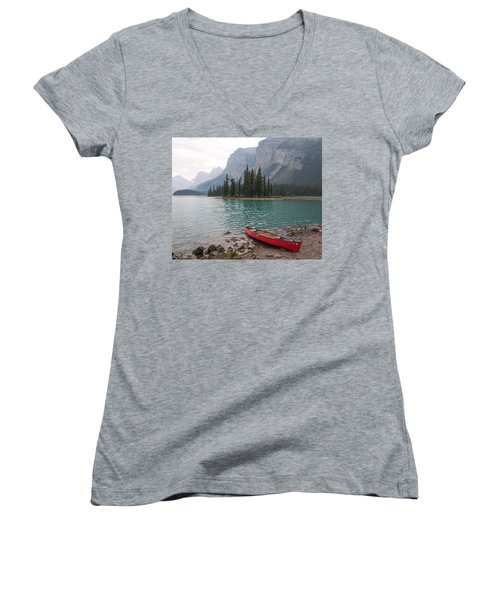 Red Canoe Women's V-Neck T-Shirt (Junior Cut) by Catherine Alfidi