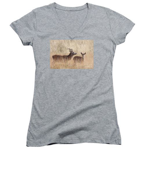 Red Deer Stag And Hind Women's V-Neck