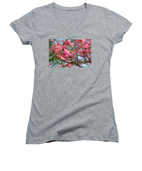 Red Dogwood Flowers Women's V-Neck T-Shirt (Junior Cut)