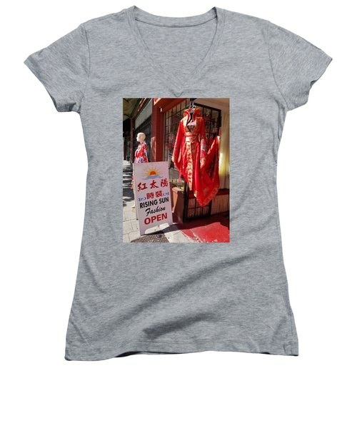 Red Dress In Chinatown, Vancouver, Canada Women's V-Neck T-Shirt