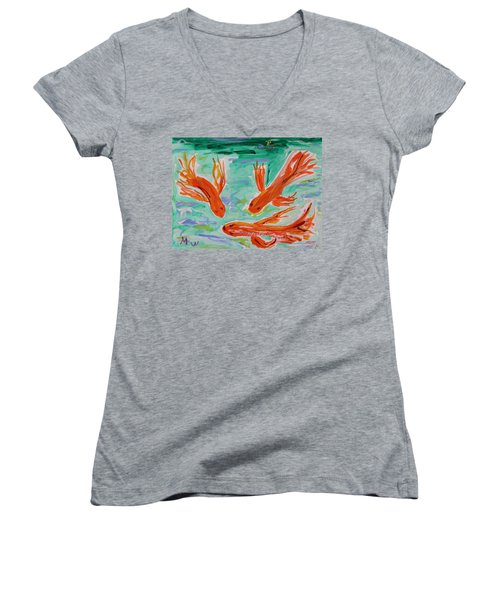 Red Eye Koi Women's V-Neck T-Shirt (Junior Cut) by Mary Carol Williams
