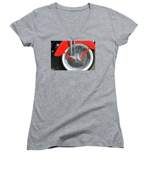 Red Fender Women's V-Neck T-Shirt
