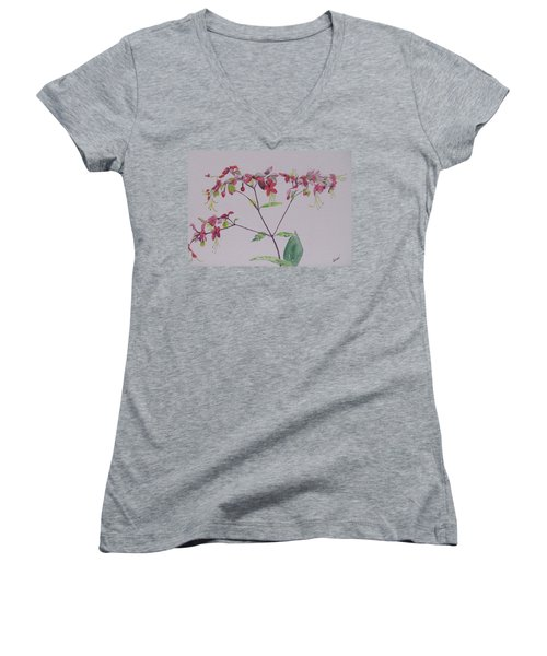 Women's V-Neck T-Shirt (Junior Cut) featuring the painting Red Flower Vine by Hilda and Jose Garrancho