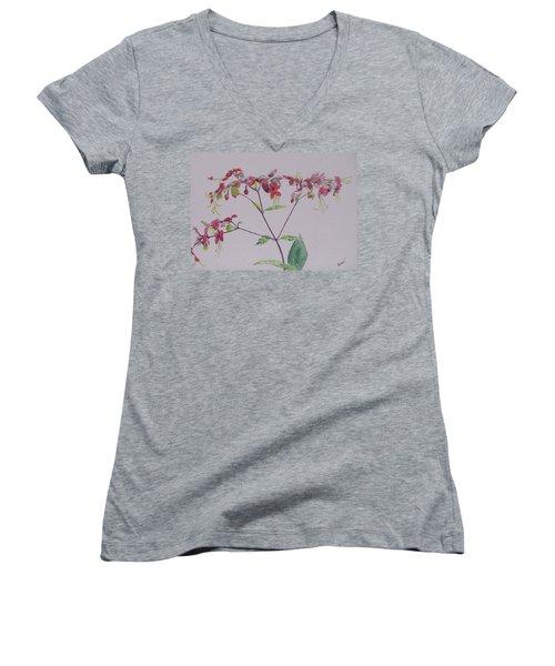 Red Flower Vine Women's V-Neck T-Shirt