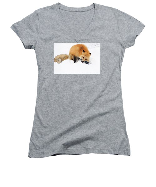 Red Fox To Base Women's V-Neck T-Shirt