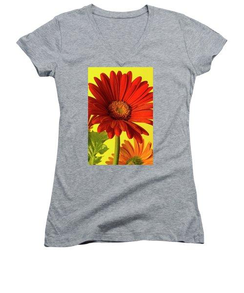 Red Gerbera Daisy 2 Women's V-Neck T-Shirt (Junior Cut) by Richard Rizzo
