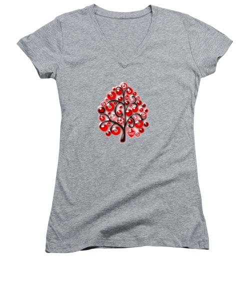 Red Glass Ornaments Women's V-Neck