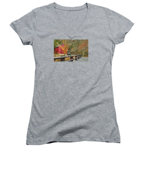 Red Grist Mill Front Entrance Women's V-Neck T-Shirt