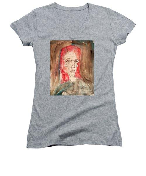 Red Headed Stranger Women's V-Neck T-Shirt (Junior Cut) by A K Dayton