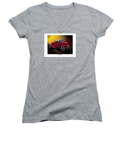 Women's V-Neck T-Shirt (Junior Cut) featuring the photograph Red Hot Rod by Kenneth De Tore