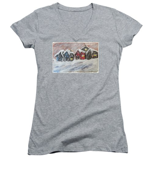 Red House In The Snow Women's V-Neck