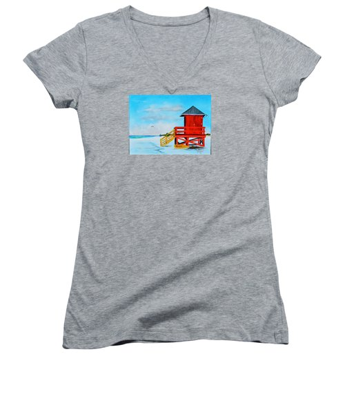 Red Life Guard Shack On The Key Women's V-Neck T-Shirt