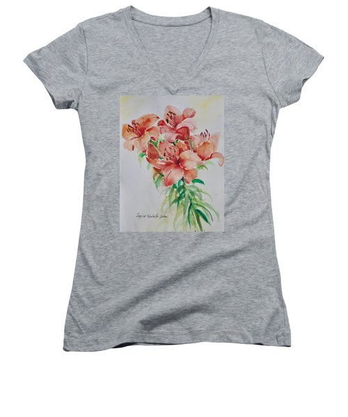 Red Lilies Women's V-Neck