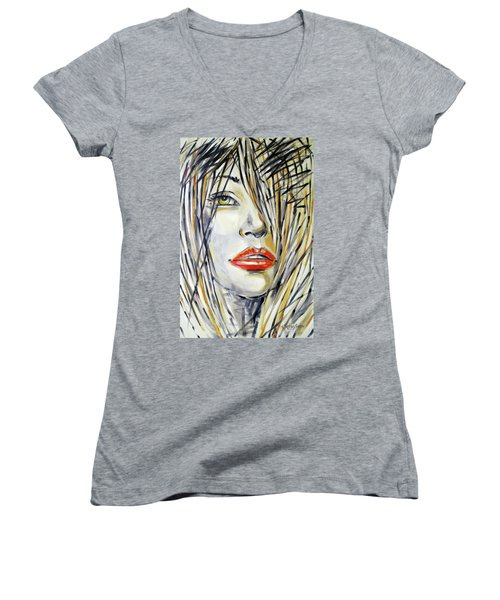Red Lipstick 081208 Women's V-Neck (Athletic Fit)