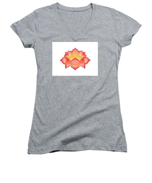 Women's V-Neck T-Shirt featuring the painting Red Lotus by Elizabeth Lock