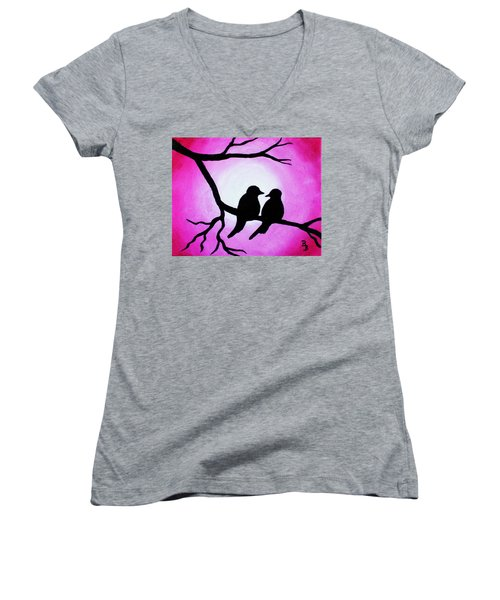 Red Love Birds Silhouette Women's V-Neck (Athletic Fit)