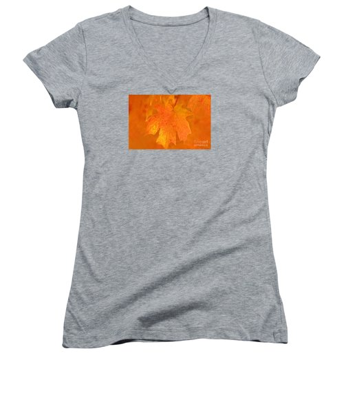 Red Maple Autumn Women's V-Neck T-Shirt (Junior Cut) by Marion Johnson
