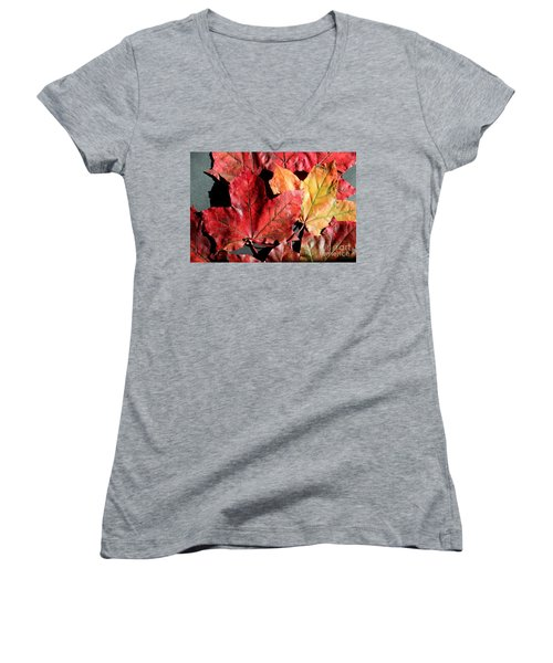 Red Maple Leaves Digital Painting Women's V-Neck T-Shirt (Junior Cut) by Barbara Griffin