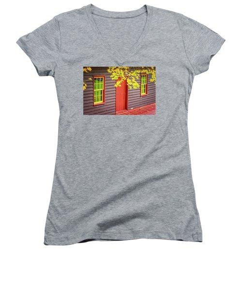 Red Mill Door In Fall Women's V-Neck T-Shirt