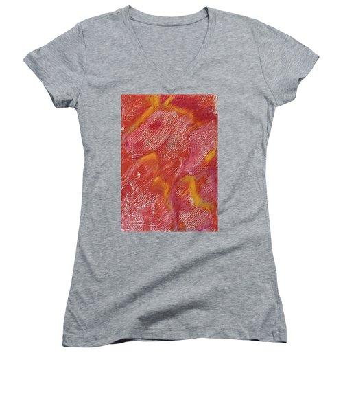 Red Monoprint One Women's V-Neck