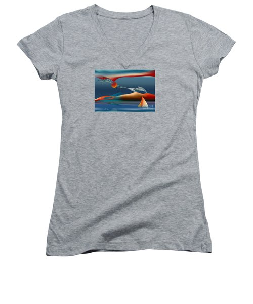 Women's V-Neck T-Shirt (Junior Cut) featuring the digital art Red Moon Sign by Leo Symon