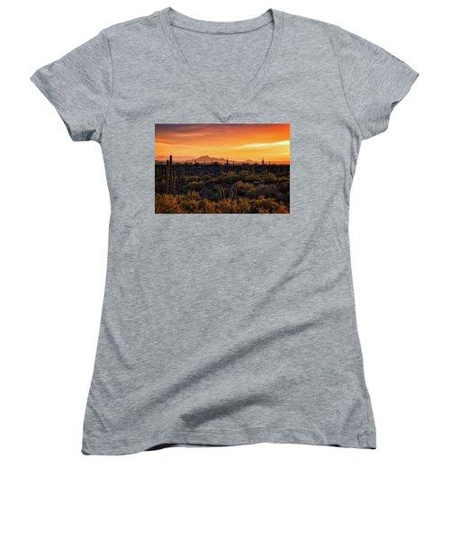 Women's V-Neck T-Shirt (Junior Cut) featuring the photograph Red Mountain Sunset Part Two  by Saija Lehtonen
