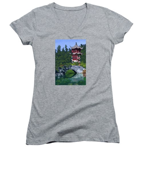 Women's V-Neck T-Shirt (Junior Cut) featuring the painting Red Pagoda by Lynne Reichhart