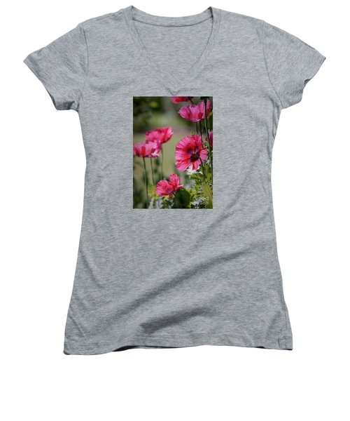 Red Poppies Women's V-Neck T-Shirt (Junior Cut) by Lisa L Silva
