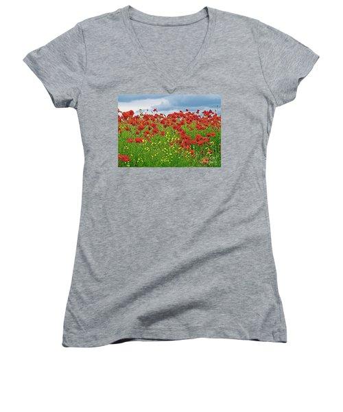 Red Poppies Women's V-Neck