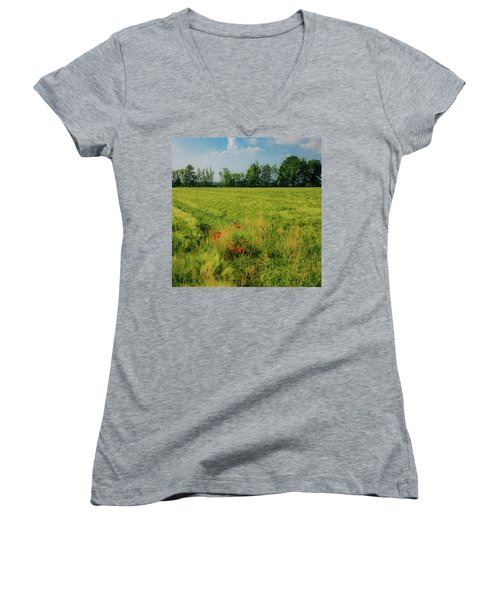 Red Poppies On A Green Wheat Field Women's V-Neck