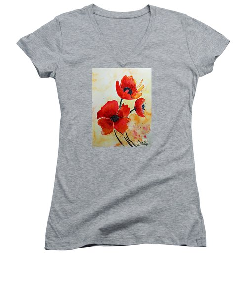 Women's V-Neck T-Shirt (Junior Cut) featuring the painting Red Poppies Watercolor by AmaS Art
