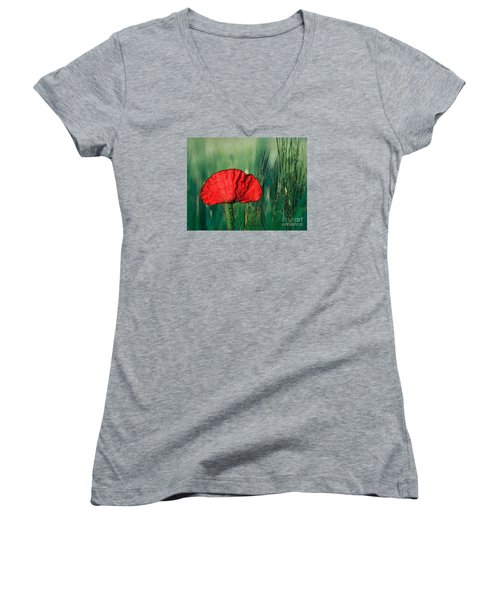 Women's V-Neck T-Shirt (Junior Cut) featuring the photograph Red Poppy Flower by Jean Bernard Roussilhe