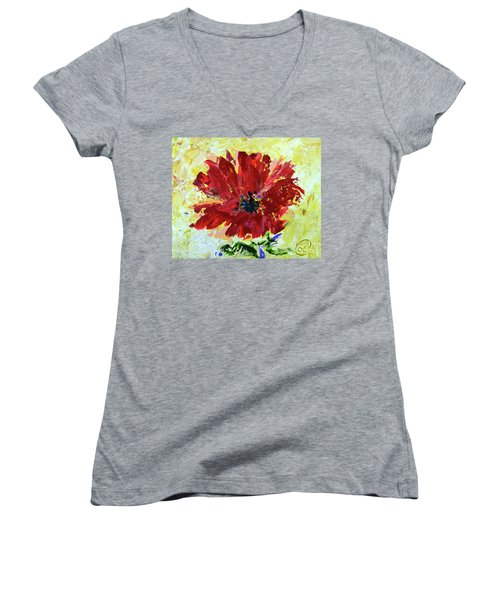 Red Poppy Women's V-Neck T-Shirt (Junior Cut) by Lynda Cookson