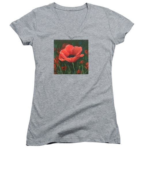 Red Poppy Women's V-Neck T-Shirt (Junior Cut) by Torrie Smiley