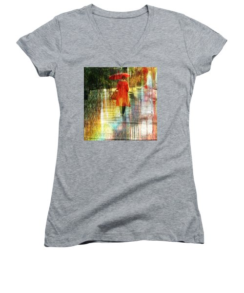 Red Rain Day Women's V-Neck T-Shirt