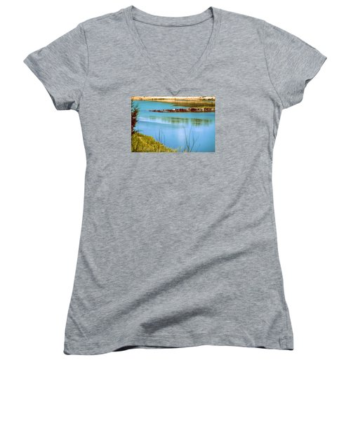 Women's V-Neck T-Shirt (Junior Cut) featuring the photograph Red River Crossing Old Bridge by Diana Mary Sharpton