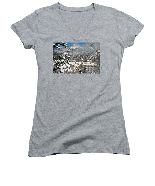 Red River In Winter Women's V-Neck (Athletic Fit)