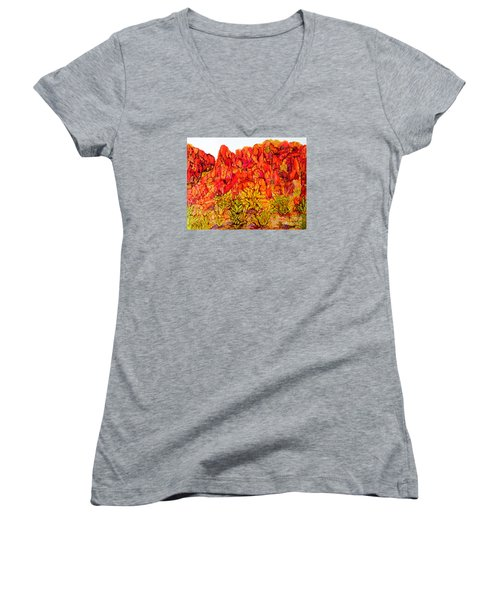 Red Rock Canyon Veiw From The Loop Women's V-Neck T-Shirt (Junior Cut) by Vicki  Housel