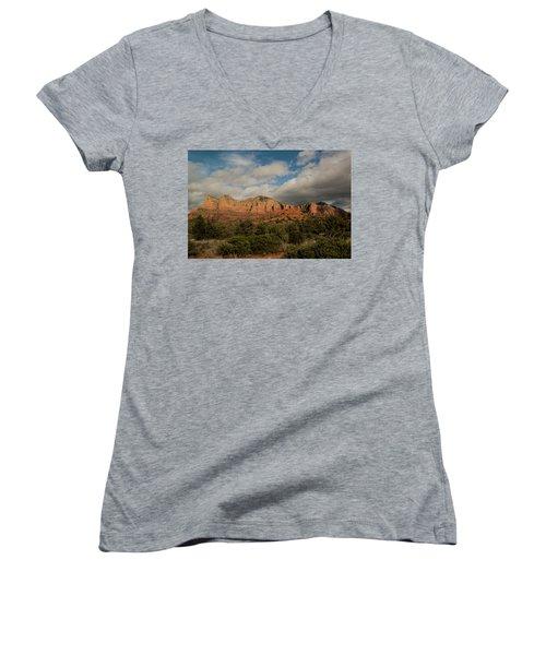 Women's V-Neck T-Shirt (Junior Cut) featuring the photograph Red Rock Country Sedona Arizona 3 by David Haskett