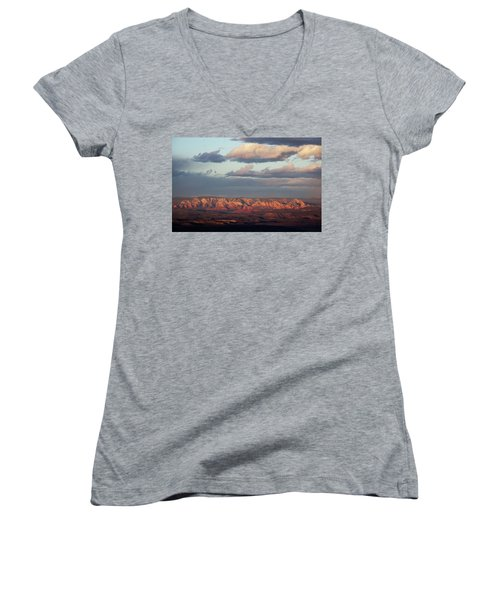 Red Rock Crossing, Sedona Women's V-Neck T-Shirt (Junior Cut) by Ron Chilston