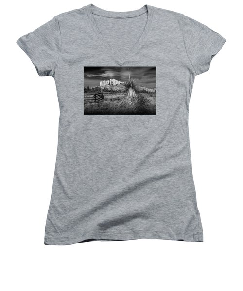 Women's V-Neck T-Shirt (Junior Cut) featuring the photograph Red Rock Formation In Sedona Arizona In Black And White by Randall Nyhof