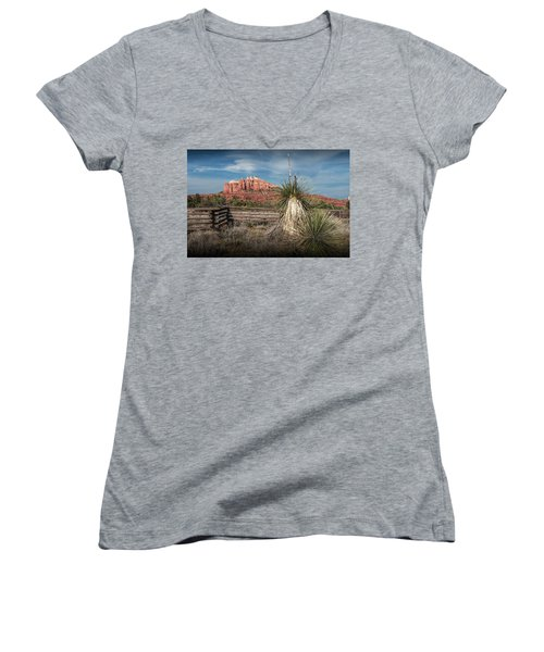 Women's V-Neck T-Shirt (Junior Cut) featuring the photograph Red Rock Formation In Sedona Arizona by Randall Nyhof
