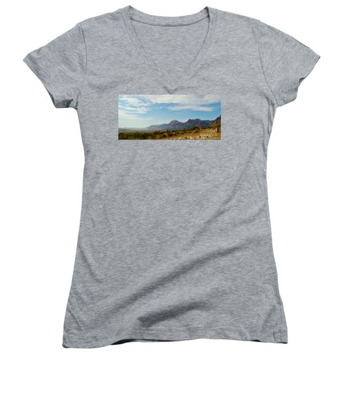 Red Rock Morning Panorama Women's V-Neck T-Shirt