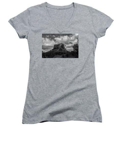 Women's V-Neck T-Shirt (Junior Cut) featuring the photograph Red Rocks Sedona Bnw 1 by David Haskett