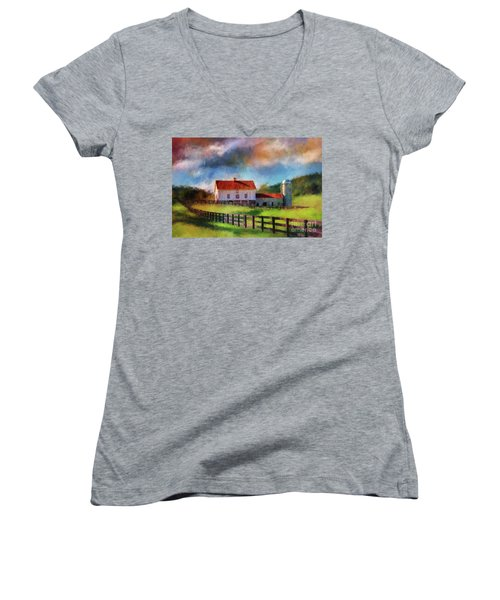Women's V-Neck T-Shirt (Junior Cut) featuring the digital art Red Roof Barn by Lois Bryan
