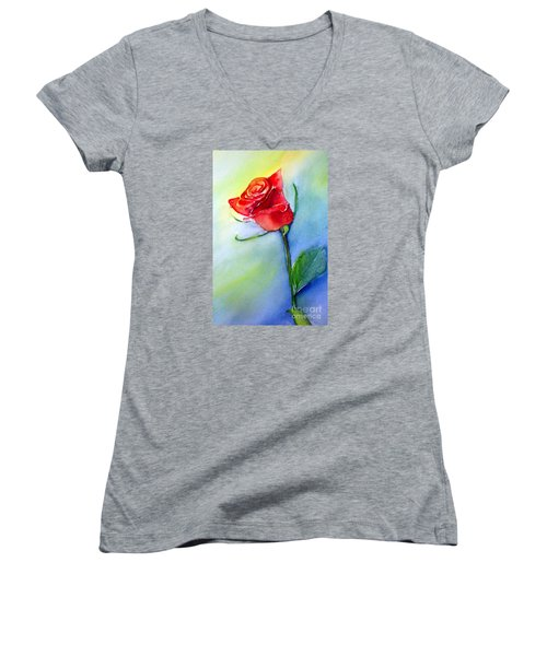 Red Rose Women's V-Neck T-Shirt (Junior Cut)